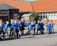 Shell Invasion Pre prep pupils throwing their weapons