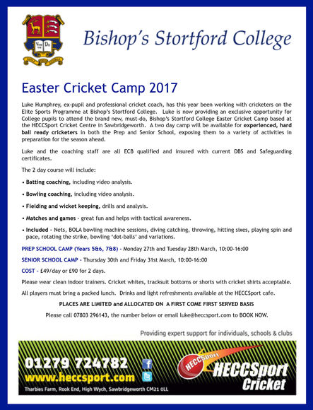 Easter cricket camp poster smaller