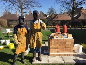 Artists Ready for Raku Firing 2017
