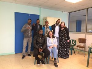 Madeleine Bailey with friends from Calais Jungle