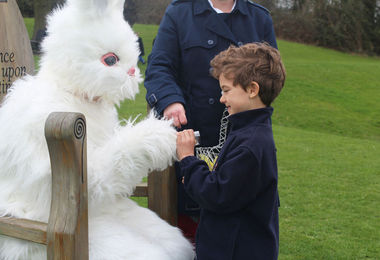 Pre-Prep School Boy with Easter Bunny