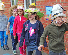 Laughing Pupils in Pre-Prep School Easter Bonnet Parade