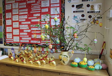 Easter Decorations in German Classroom