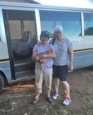 Gill and Alison with Chicken on Malawi Expedition 2017