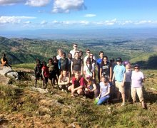 Sixth Form Students with Local Children Malawi Expedition 2017