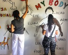 Sixth Form Students Painting on Malawi Expedition 2017