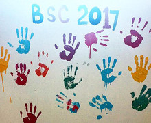 Handprints on Classroom Wall Malawi 2017