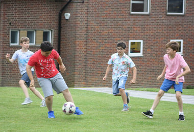 Prep School Boarders Playing Football