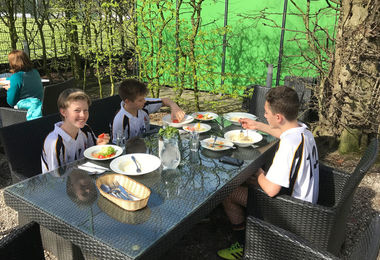 Lunch on Boys' Hockey Tour to Cologne April 2017