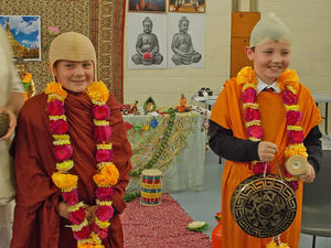 Form 2 Boys Dressed Up For Buddhist Workshop