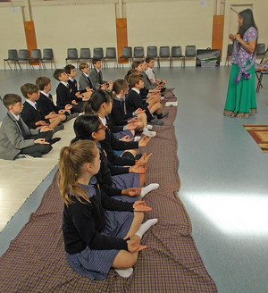 Pupils in Yoga Pose for Form 2 Buddhist Workshop