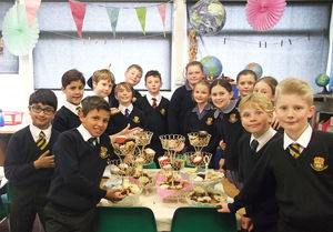 F1 & 2 Pupils with Tea Party Cakes