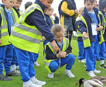 Year 1 Feeding the ducks at RHS Hyde Hall