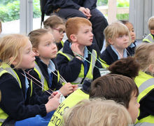 Year 1 Listening to introduction at Hyde Hall