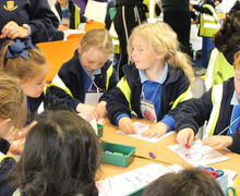 Year 1 Pupils drawing on Trip to RHS Hyde Hall