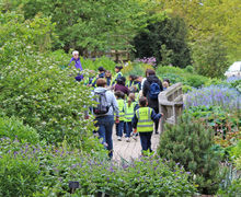 Year 1 Pupils Walking through the gardens of Hyde Hall