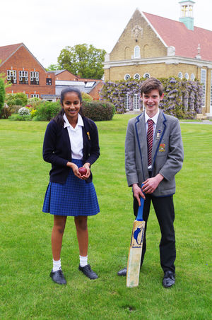 Vibha and william in school uniform
