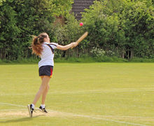 Senior School Girl batting v England Rounders