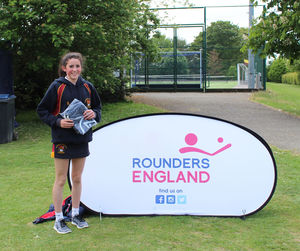 Katie with award England Rounders
