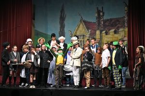 Form 2 all on stage in Wind in the Willows