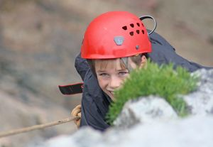 F2 Boy climbing on Cornwall Trip Group 1