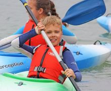 Form 2 Boy kayaking Cornwall Science Trip