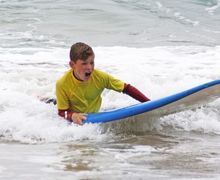 Form 2 Boy on surfboard Cornwall 2017