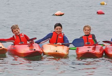 Form 2 Pupils in kayaks Prep School Trip to Cornwall 2017