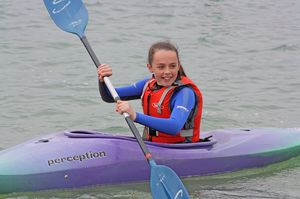 Form 2 Bishop's Stortford College Girl in kayak Cornwall 2017