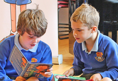 Year 2 boys reading together