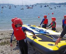 Form 2 Prep School Pupils with Raft Cornwall Trip