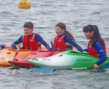Form 2 Prep School Pupils Enjoying Kayaks Cornwall 2017