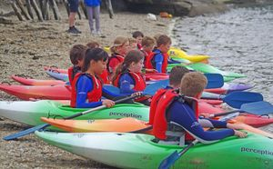 Form 2 Prep School Pupils in Kayaks in Cornwall 2017