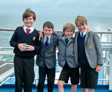 Boys on Ferry Crossing Prep School Music Tour to Normandy