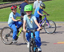 Year 2 boy on bike bikeability 2017