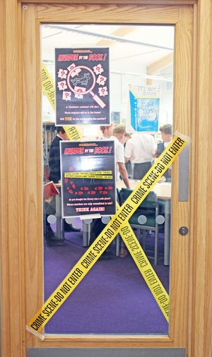 Library door with police tape
