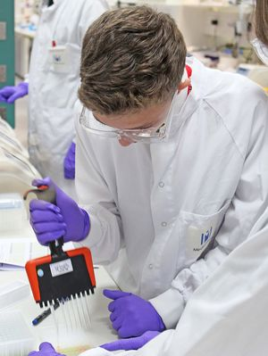 Charlie with multichannel pipette at medimmune