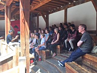 4th Form Pupils Listening at Globe Theatre