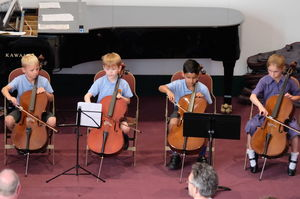 Cellists at Pre-Prep Year 2 Music Concert