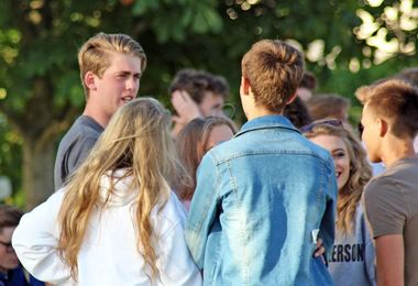 Pupils Chatting at 6th Form Induction BBQ