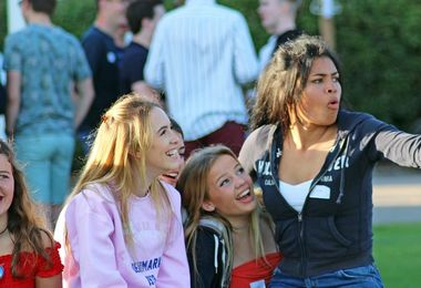 Girls Enjoying 6th Form Induction BBQ