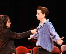 GIrl and Boy Acting in Fourth Form Play After Juliet