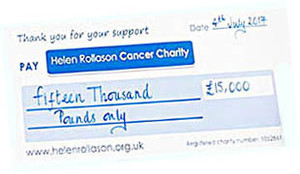Helen rollason cancer charity cheque