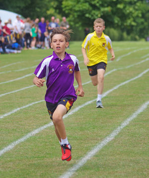 Newbury boy racing at prep school sports day