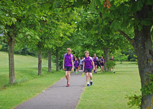 Newbury pupils walking to prep school sports day