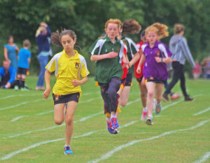 Prep school girls race sports day
