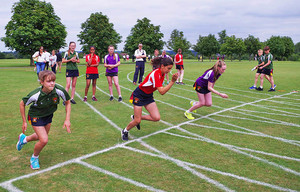 Prep school girls racing at sports day