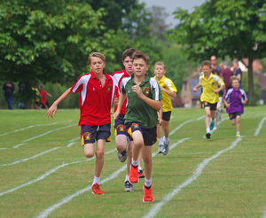 Prep school sports day boys racing