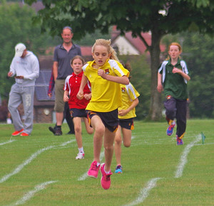 Westfield girl racing at prep school sports day