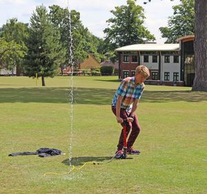 Water Rockets 6th Form Induction on Lawn